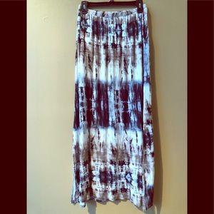 Bobeau Tie Dyed Long Maxi Skirt.